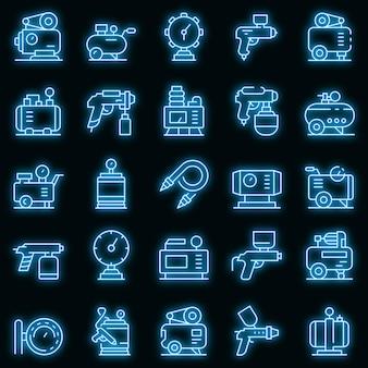 Set di icone del compressore d'aria. delineare l'insieme delle icone vettoriali del compressore d'aria colore neon su nero