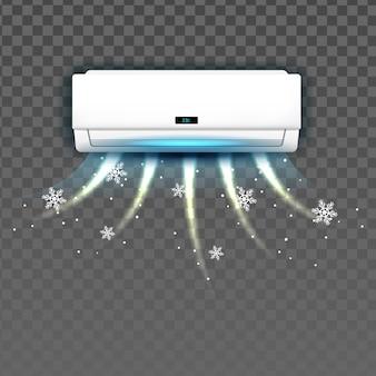 Sistema di aria condizionata che soffia con il vettore freddo. blocco della temperatura di raffreddamento del sistema di condizione nella stanza. modello di condizionatore del dispositivo di tecnologia elettronica del clima illustrazione 3d realistica