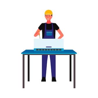 Personaggio dei cartoni animati del lavoratore di riparazione e manutenzione dell'attrezzatura del condizionatore d'aria, piatto isolato su priorità bassa bianca. servizio commerciale per elettrodomestici.