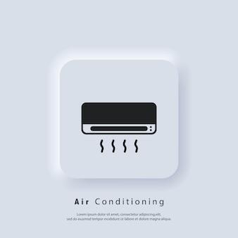 Icona del condizionatore d'aria. aria condizionata. vettore. icona dell'interfaccia utente. pulsante web dell'interfaccia utente di neumorphic ui ux bianco. neumorfismo