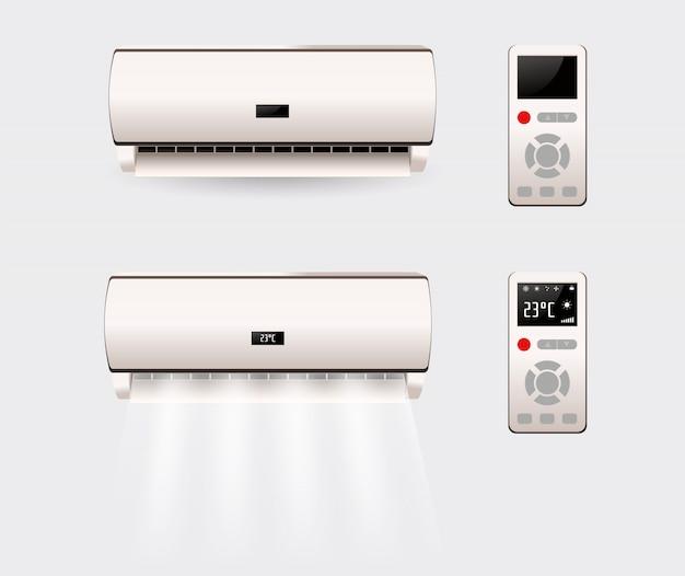 Condizionatore d'aria con aria fresca isolata. illustrazione