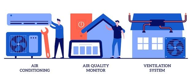 Aria condizionata, monitor della qualità dell'aria, concetto di sistema di ventilazione con persone minuscole. set di tecnologie per il controllo del clima e del tempo indoor. metafora dell'apparecchio di raffreddamento e riscaldamento.