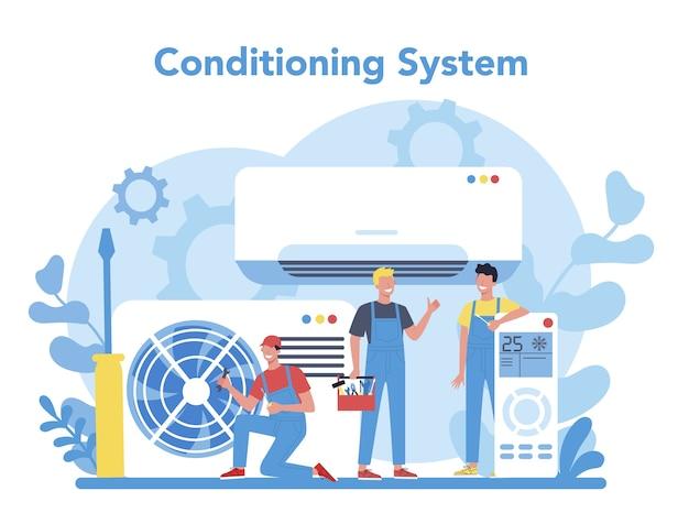 Concetto di servizio di riparazione e installazione di aria condizionata. riparatore che installa, esamina e ripara il condizionatore con strumenti e attrezzature speciali. illustrazione vettoriale isolato