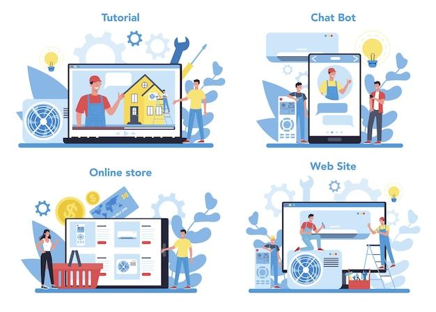 Set di piattaforma online di servizio di riparazione e installazione di aria condizionata. workshop online, consultazione o video tutorial. riparatore che installa, esamina e ripara il condizionatore.