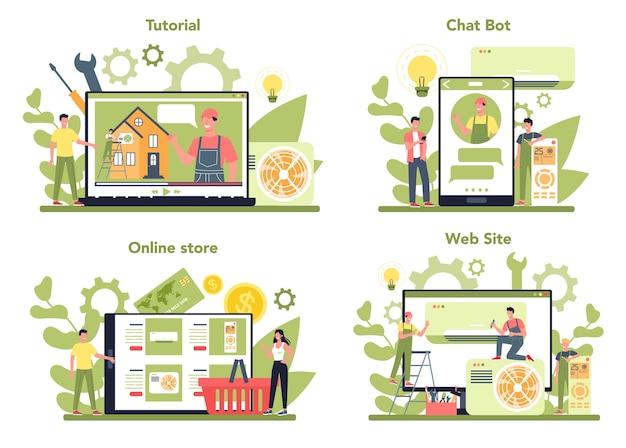 Set di piattaforma online di servizio di riparazione e installazione di aria condizionata