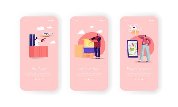 Scatole per pizza con droni d'aria che consegnano ai clienti modello di schermo a bordo della pagina dell'app mobile