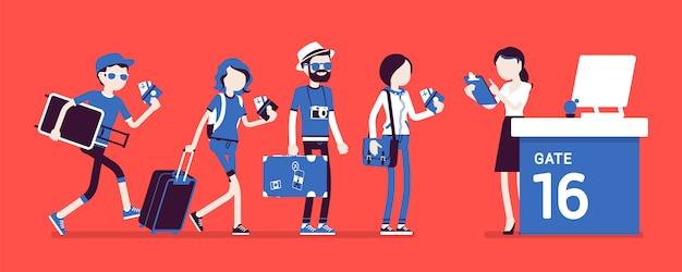 Coda di controllo del volo aereo. passeggeri del check-in in aeroporto in fila prima del viaggio, agente della compagnia aerea che controlla i documenti del biglietto al gate. illustrazione con personaggi senza volto