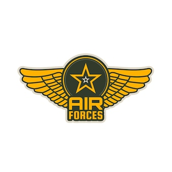 Icona di vettore di patch delle forze aeree di ali, scudo e stella. le ali degli aerei militari hanno isolato il distintivo araldico della divisione dell'aviazione dell'esercito o della marina, squadrone, volo o gruppo, araldica del servizio armato