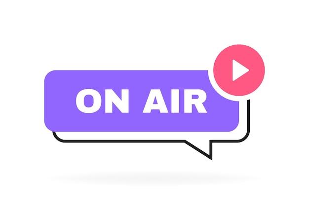 Bolla di messaggio geometrico in onda con emblema del pulsante di riproduzione.