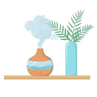 Dispositivo di umidificazione dell'aria per idratare l'aria e migliorare il clima nella stanza. elettrodomestici e piante. illustrazione vettoriale moderna