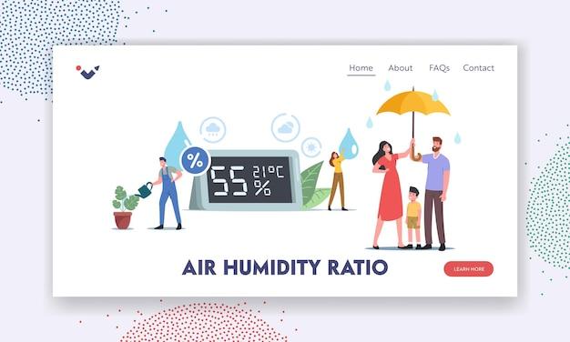 Modello di pagina di destinazione del rapporto di umidità dell'aria. piccoli personaggi a un enorme igrometro. madre, padre e figlio sotto l'ombrellone, operaio che innaffia le piante, atmosfera, clima. cartoon persone illustrazione vettoriale