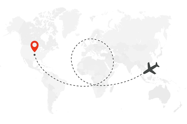 Rotta di volo aereo con punto di partenza e traccia della linea ad anello, illustrazione vettoriale