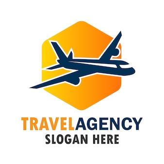 Logo aereo aereo, logo del mondo di viaggio con spazio di testo per il tuo slogan