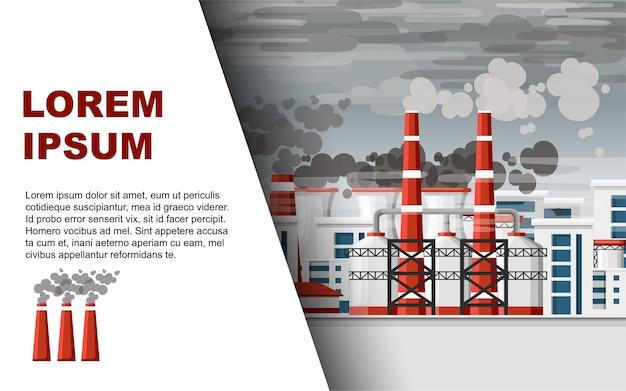 Bandiera orizzontale di problema di inquinamento atmosferico.
