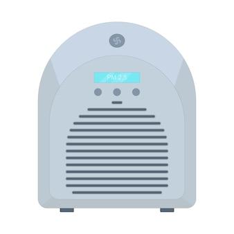 Purificatore d'aria filtrazione di virus e aria sporca filtro pm 25 illustrazione vettoriale in stile piatto Vettore Premium