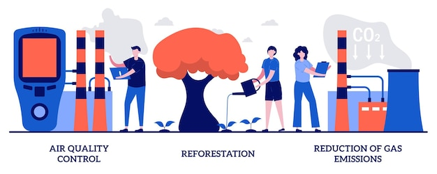 Controllo della qualità dell'aria, riforestazione, riduzione del concetto di emissioni di gas con persone minuscole. contenimento del set di illustrazioni vettoriali astratte per il riscaldamento globale. migliora la qualità dell'aria fresca e pulita.