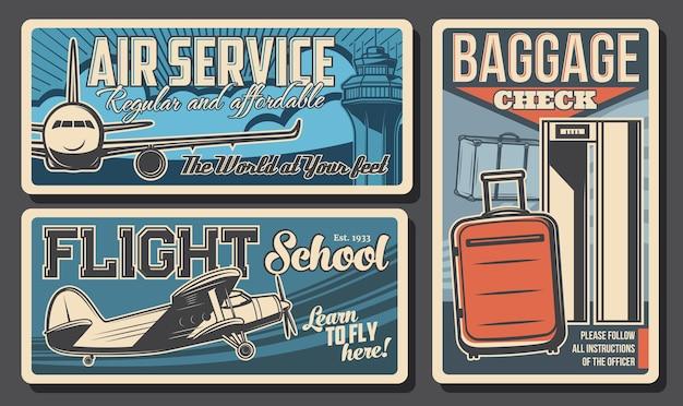 Banner retrò di servizio aereo, scuola di volo e controllo bagagli