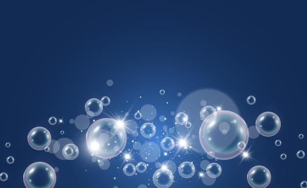 Bolle di sapone d'aria su illustrazione trasparente di lampadine