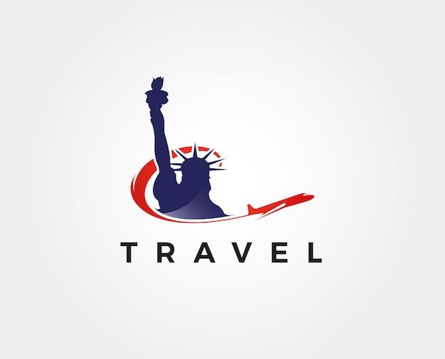 Modello di logo di viaggio aereo logo americano degli stati uniti