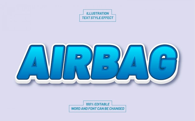 Effetto stile testo blu airbag