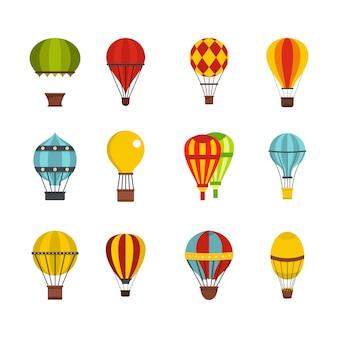 Set di icone airballon. insieme piano della raccolta delle icone di vettore dell'aerone isolato