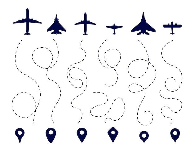 Rotta dell'aereo. sentiero in direzione dell'aereo. linea tratteggiata di volo, percorsi di viaggio dell'aviazione. navigazione mappa, puntatori pin aeroplano