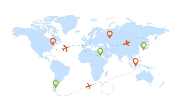 Rotta dell'aereo. mappa mondiale con pittogrammi di aerei e forme di viaggio in direzione del percorso sullo sfondo del cielo. illustrazione viaggio in tutto il mondo viaggio aviazione