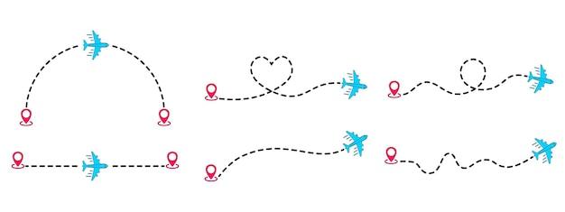 Linee tratteggiate di rotte aeree. traccia dell'aeroplano da puntare con la linea tratteggiata. turismo e viaggi. volo di aeroplani con traccia tratteggiata. turismo e traccia della linea di viaggio con la posizione