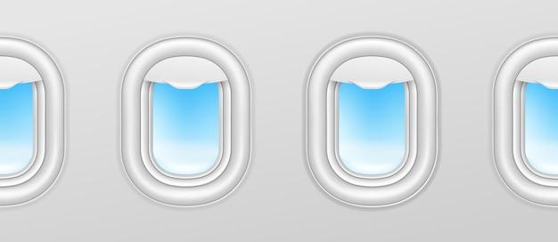 Finestrini degli aerei. illuminatori di aeroplani, esterni di vettore senza soluzione di continuità oblò di aereo con cielo blu all'esterno. volo aereo di illustrazione, vista interna con oblò