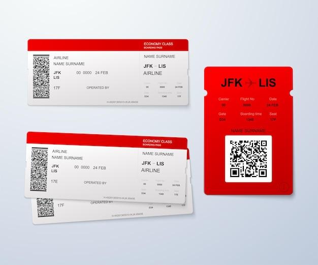 Modello di carta d'imbarco della compagnia aerea.