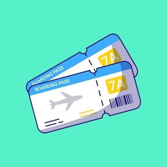 Biglietto di imbarco di linea aerea viaggio piatto