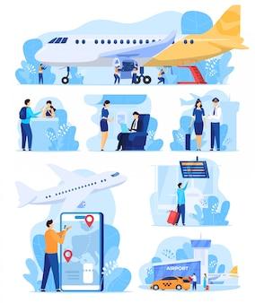 Illustrazione di servizi aerei, persone in aeroporto, personale e passeggeri