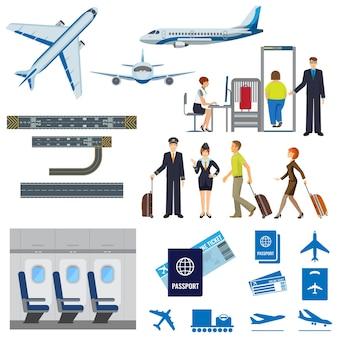 Raccolta di segni di processo di lavoro della compagnia aerea su bianco. poster di aerei passeggeri in volo, interni dell'aereo, procedura di check-in, pilota e hostess, persone con valigie, passaporto e biglietto