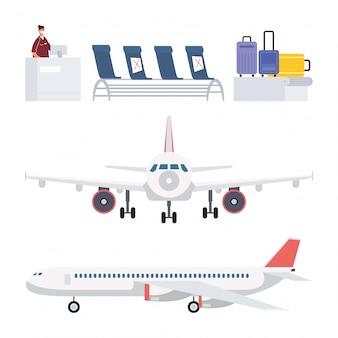 Aeroplano e aeroporto impostare elementi