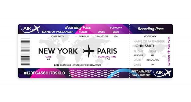 Modello del biglietto della carta d'imbarco dell'aeroplano