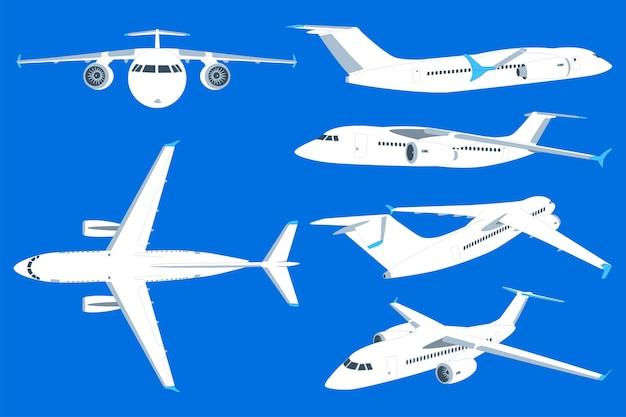 Fumetto dell'aeroplano imposta illustrazione isolata