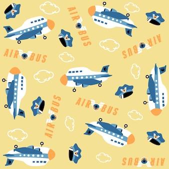 Fumetto dell'aeroplano con il cappello pilota, logo della linea aerea sul vettore del modello