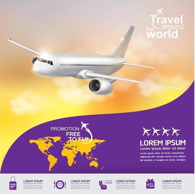 Concetto di aeroplano viaggia intorno al banner del mondo