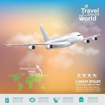 Concetto di aeroplano viaggi intorno al mondo