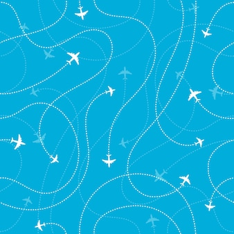 Fondo senza cuciture delle destinazioni dell'aeroplano. concetto di tempo di avventura