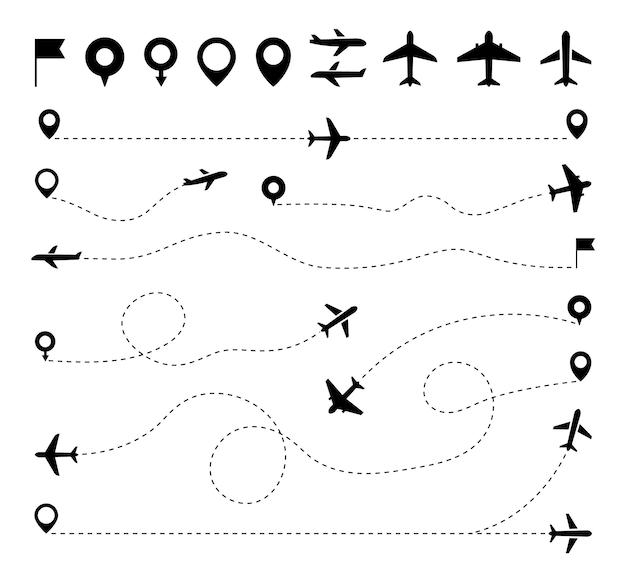 Set percorso tratteggiato aereo linea tratteggiata percorso aereo traiettoria linea aerea