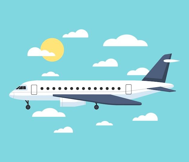 Volo dell'aeroplano sopra la città della città.