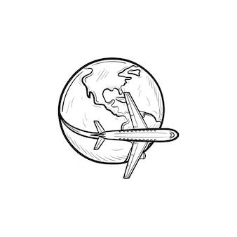 Aeroplano che vola intorno all'icona di doodle di contorni disegnati a mano del mondo. affari e turismo, concetto di viaggio in aereo