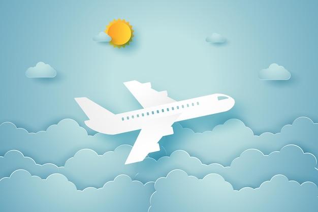 Aeroplano che vola nel cielo in stile arte della carta