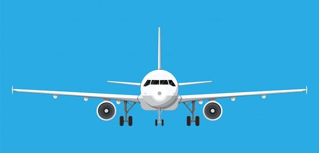 Vista frontale dell'aeroplano.