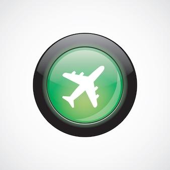 Pulsante lucido di aeroplano vetro segno icona verde. pulsante del sito web dell'interfaccia utente