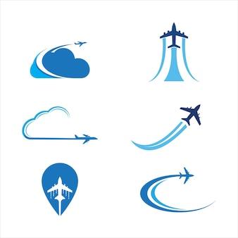 Progettazione dell'illustrazione di vettore dell'icona dell'aeroplano logo template