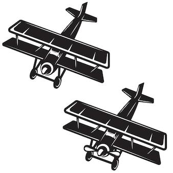 Icona dell'aeroplano su sfondo bianco. elemento per logo, etichetta, emblema, segno, distintivo. immagine