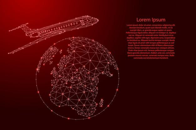 L'aereo sta volando intorno alla mappa del globo da futuristiche linee rosse poligonali e stelle incandescenti per banner, poster, biglietti di auguri.