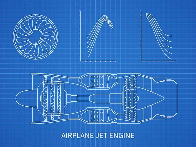 Motore a reazione dell'aeroplano con la cianografia della turbina